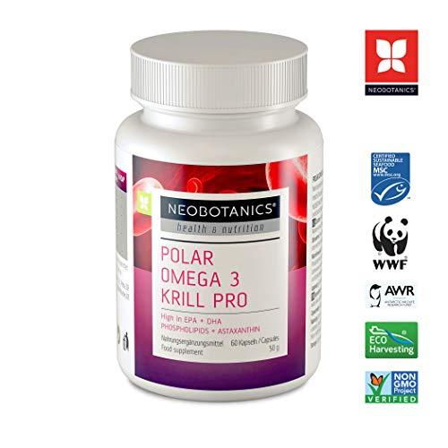 NEOBOTANICS® PRO Omega 3 Krillöl Kapseln - 590mg hochdosierte Omega 3-6-9 Fettsäuren pro Kapsel - Cholesterin natürlich senken - Höchste EPA + DHA + Phospholipide & Cholin und Astaxanthin. 60 Softgels -
