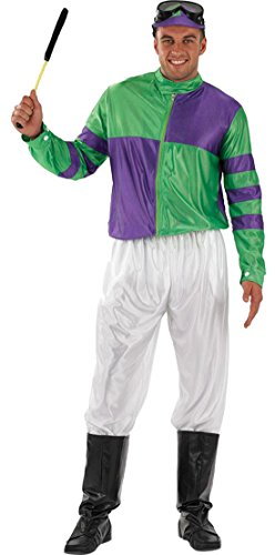 Karnevalsbud - Herren Karneval Kostüm Jockey Man , Grün, Größe (Jockey Disco Kostüme)