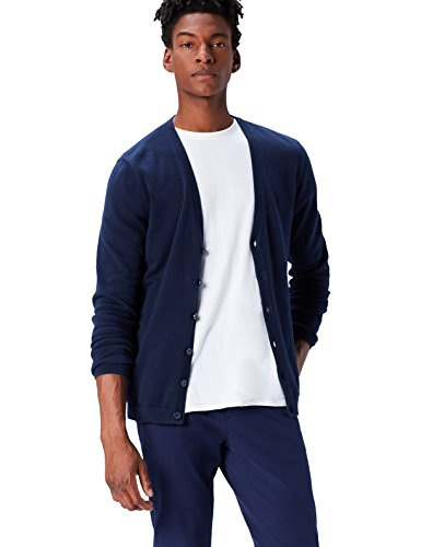 V-neck Cardigan Jacke (FIND Herren Strickjacke mit V-Ausschnitt, Blau (Navy), XX-Large)