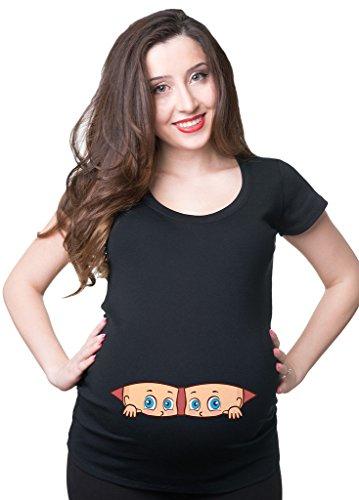 Silk Road Tees Frauen Schwangerschafts-T-Shirt Zwillings-Spähen Schwangerschafts-Top Medium Schwarz