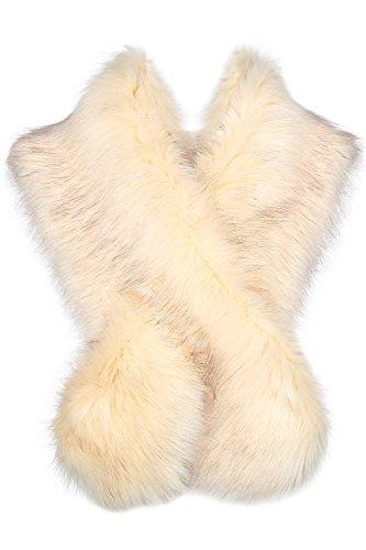 Pelz Schal Flauschig Faux Pelz Umschlagtuch Kragen für Wintermantel 1920er Jahre Flapper Accessoires Outfit Warm Zubehör 120 cm lang (Beige) ()