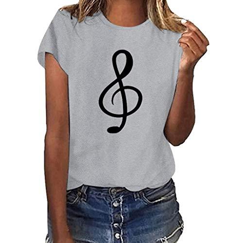 Geilisungren Damen Kurzarm T-Shirt O-Ausschnitt Casual Sommer Lose Shirt Oversize Oberteile Musiknote Drucken Top Große Größen Bequem Bluse für Frauen