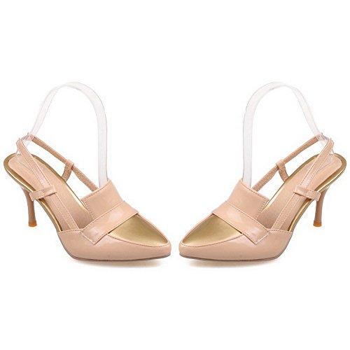 AllhqFashion Damen Stiletto Gemischte Farbe Ziehen Auf Schließen Zehe Sandalen Mit Hohem Absatz Aprikosen Farbe