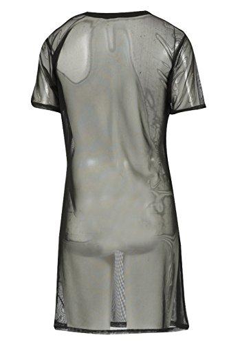Damen Rock Biker International Tour Mesh T-Shirt Kleid EUR Größe 34-44 Schwarz