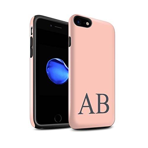 Personalisiert Pastell Monogramm Glanz Zähen Hülle für Apple iPhone 7 / Blaues Design / Initiale/Name/Text Stoßfest Schutzhülle/Case/Etui Korallen