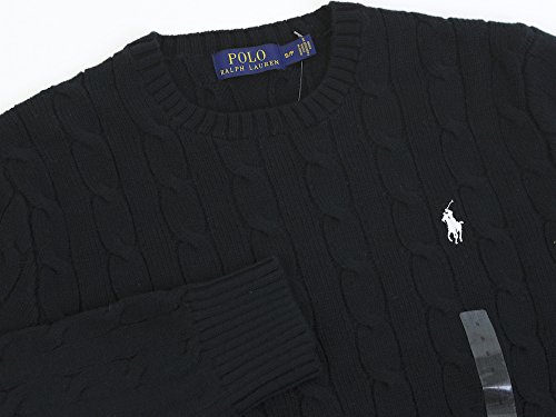 Ralph Lauren Polo Herren Zopfmuster Rundhals Pullover Schwarz, Marineblau, Grau, Weiß, Hellgrau 2015/16 UK Lager Schwarz