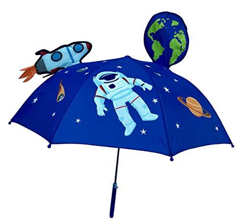 HECKBO 3D Kinder Regenschirm Weltraum Space Astronaut | mit Rakete, Erde, Planeten, Satellit mit Sichtfenster | Sonnenschirm für Jungen und Mädchen | Umbrella für Schulkinder Kindergartenkinder