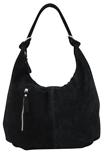 AMBRA Moda Damen Wildleder Schultertasch Damen Handtasche Hobo-Bags Shopper Beuteltaschen Veloursleder Suede Ledertasche DIN-A4 42cm x 35cmx 4cm WL803 Schwarz groß