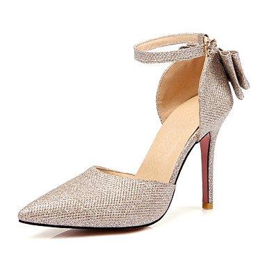Talons pour femmes Printemps Été Automne Club Chaussures PU Glitter Fête de mariage et robe de soirée Stiletto Heel Bowknot Brillant Glitter BuckleBlack Black