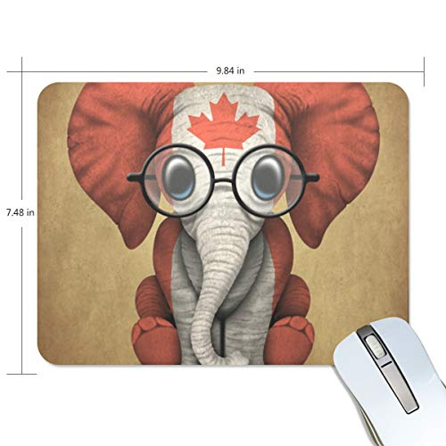 MONTOJ Gaming Mauspad Baby Elefant mit Brille und Kanadische Flagge Computer Tastatur Mauspad, wasserabweisend, rutschfeste Unterseite, ideal für Gaming und Arbeiten