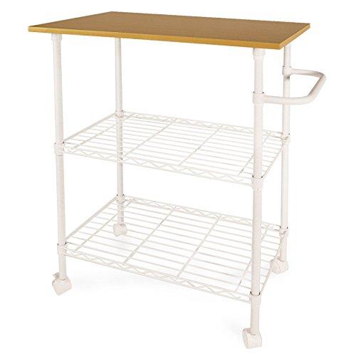Küchenwagen - Servierwagen Toledo | weiß | 3 Etagen | Holzablage | 60x40,8x87 cm