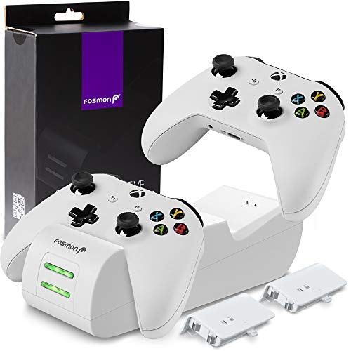 Fosmon Xbox One/One S/One X/Elite Controller Ladestation Stand Charging Set[2X 1000mAh Akku][SCHNELL Dual Charger] LED Docking Station Ladegerät Konsole Halterung[Batterien|Power Packs]-Weiß