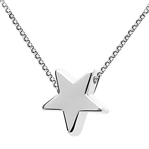 Celebrity Jewellery 925 Sterling Silver Mini Star Cute Small Pendant Necklace for Women 18 Inch Chain