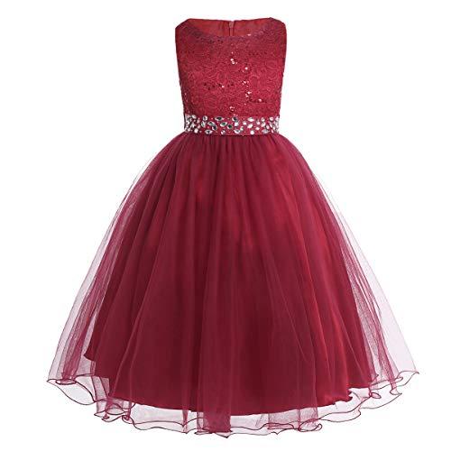 CHICTRY Kinder Mädchen Kleid festlich Lange Brautjungfern Kleider Hochzeit Blumenmädchenkleid Prinzessin Party Kleid Tüll Festzug Burgundy 152