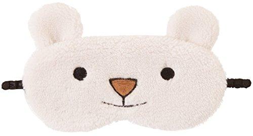 Cute Animal flauschig Neuheit Sleep, Augenmaske, Augenbinde mit 3D Ohren, Katze, Eule, Panda, Kaninchen, Schnee-Eule oder Mops Gr. One size, eisbär