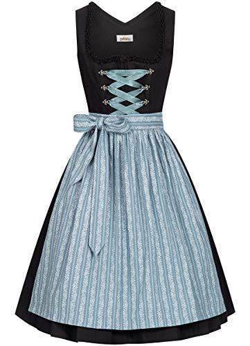 Almsach Damen Trachten-Mode Midi Dirndl Annika traditionell Gr.32-54, Größe:42, Farbe:Schwarz/Eisblau