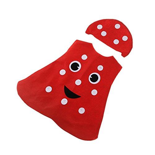 IPOTCH Kleinkind Obst Kostüm Tierkostüm Kinder-Kostüme für Fasching Karneval Halloween Party Faschingskostüm Karnevalskostüm - Pilz