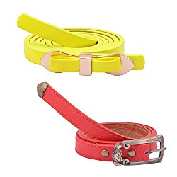 Diovanni Combo Of 2 Fancy Belts For Womens (Yellow)