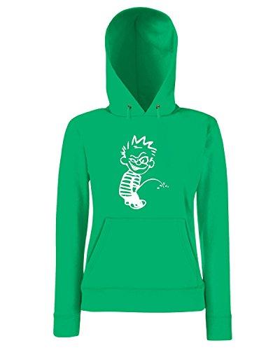 T-Shirtshock - Sweatshirt a capuche Femme FUN1089 crazy calvin peeon decal 21471 Vert