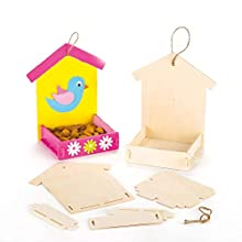 Baker Ross Mini Wooden Birdhouse Kits, Bird Houses to paint and Decorate for Kids Arts and Crafts or Garden Projects (Pack of 3)