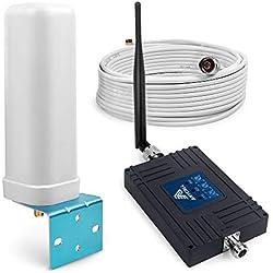 ANYCALL Tri-Bande Booster Signal Mobile, 4G/3G/2G Ampli Signal, Amplificateur de Signal GSM WCDMA LTE 800/900/2100MHz 70dB Répéteur avec antenne