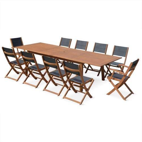 Salon de Jardin en Bois Extensible - Almeria - Table 200/250/300cm avec 2 rallonges, 2 fauteuils et 8 chaises, en Bois d'Eucalyptus FSC huilé et textilène Gris Taupe