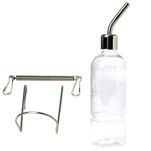 LQZ(TM) Klassik Trinkflasche Wassertränke Kleintiertränke Nagertränke Wasserspender Edelstahl für Kleintier 180ml, 350ml