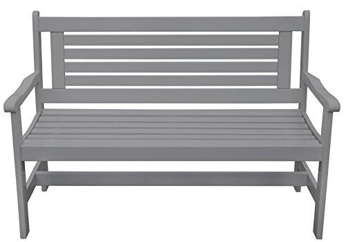 Esschert Design Bank mit Armlehne aus Holz in grau, ca. 129 cm x 59 cm x 89 cm