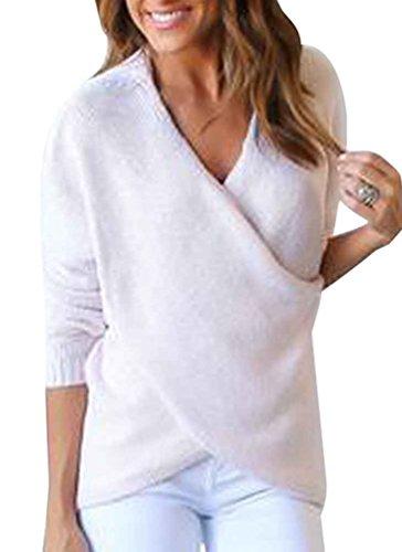 ZKOO Strickpulli Damen Langarm V-Ausschnitt Crossover Strickpullover Wickel Pullover Sweater Elegant Oberteile Winter Weiß (Langarm-wickel-pullover)