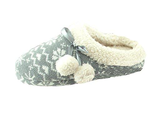 Damen Hausschuh Pantoffeln Flausch gefüttert mit Bommel und rutschfester Sohle Norweger-Design Grau