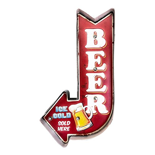 Cartel Luminoso Vintage Letrero Metálico Artesania Accesorios Decoración Hogar - Beer ice cold arrow