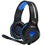 BUTFULAKE PS4 Gaming Headset, 3.5mm Stereo Over Ear Kopfh�rer mit flexiblen Ger�uschen Abbrechen Mic & LED Licht f�r Xbox One S / PlayStation 4 Pro / PC / Laptop - Blau Bild