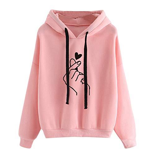 (MYMYG Damen Printed Langarm Hoodie Sweatshirt Pullover mit Kapuze Pullover Tops Bluse Kapuzenpullover Jumper Hemd Pulli(Rosa,EU:38/CN-L))