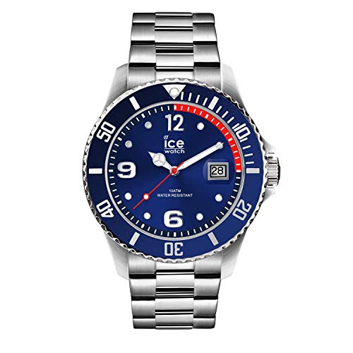 Ice-Watch - Ice Steel Blue silver - Blaue Herrenuhr mit Metallarmband - 015771 (Medium)