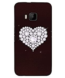 PrintHaat Designer Back Case Cover for HTC One M9 :: HTC One M9S :: HTC M9 :: M9 Plus :: M9+ (diamond in heart :: sparkling diamonds :: lovely heart on brown stripes background)