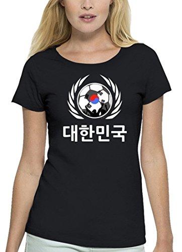 ShirtStreet Wappen Fussball WM Premium Fanfest Damen T-Shirt Bio Baumwolle Stanley Stella Fußball Korea Black