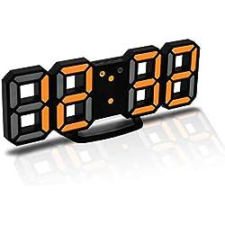 CENTOLLA Réveille-Matin 3D LED Digital, Horloge Murale, Horloge numérique, Timorn Réveil LED 3D avec 3 Niveaux de luminosité réglables Fonction de répétition de la veilleuse Dimmable