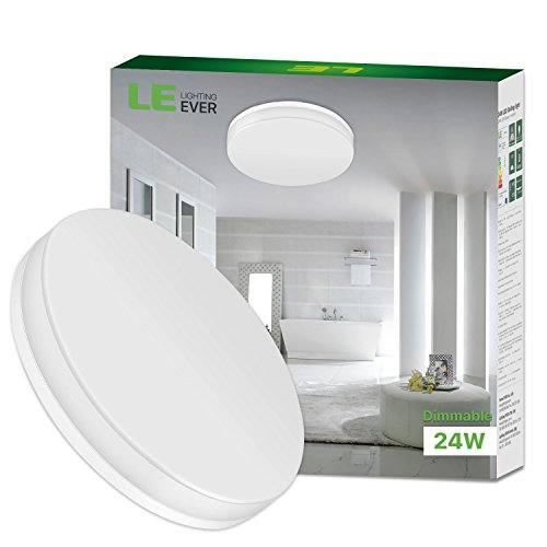 LE 24W Dimmable LED Ceiling Light, 33cm, Waterproof IP54, 2100lm, Daylight White, 120° Beam Angle, 100W Incandescent Bulb Replacement, Flush Mount Lighting for Bathroom, Bedroom, Kitchen, Hallway