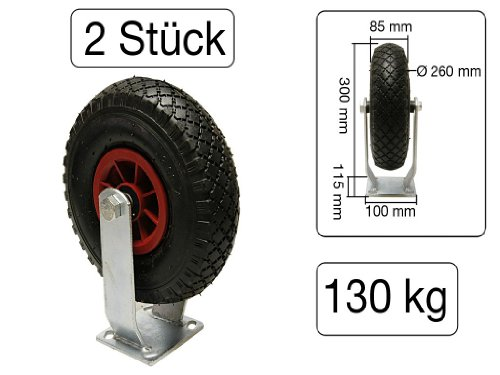 Rad Sackkarre mit Kugellager Achse 260 x 85mm 3.00-4  Reifen Laufrad Luftrad