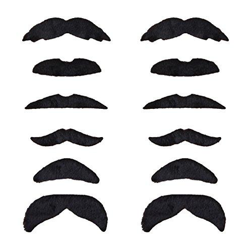 WeAreAwesome Bartset - 12 Stück - Bärte zum Ankleben - Schwarz - Set - Witze Auf Sie Kinder Kostüm