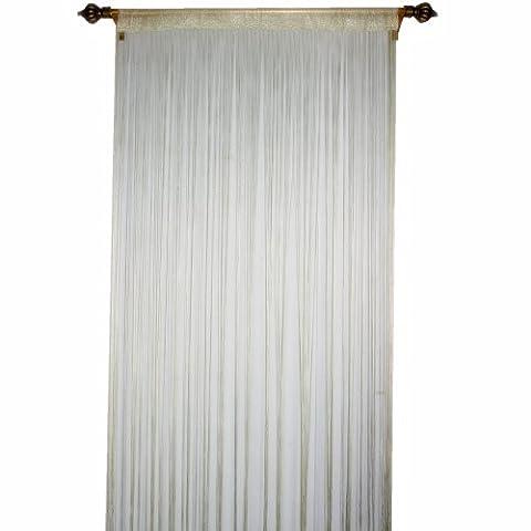 Warp Rideau fil à tricoter pour Home Decor avec Creative à rayures Tassel Motif, champagne, W90cm x L200cm (35