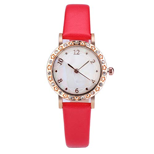 Floweworld Ladies Shell Dial Uhren Diamond Encrusted Convex Glass Einfache Temperament Uhren