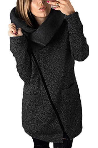 Frauen - Herbst - Winter Lässig 2-layer Farbige Zip Up Kapuzen - Jacke Outcoat Plus Size Darkgrey (Size Plus Outfits)