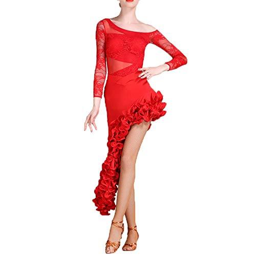 Yinglihua Bauchtanz Kleid Spitze drapiert langärmelige Latin Dance kostüm Gesellschaftstanz kostüm Anzug professionelle Leistung Rock Spiel Dress Set Damentanzkostüm (Farbe : Rot, Größe : - Red Mann Anzug Kostüm