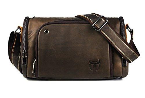 Bullcaptain Herren Umhängetasche, Tablet Tasche, ELASZ Echtes Leder lässig Aktentasche Handtasche Umhängetasche Geeignet für 10-Zoll-iPod oder andere Tablet-Tasche (Aktionspreis) - 10 Ipod Tablet Zoll