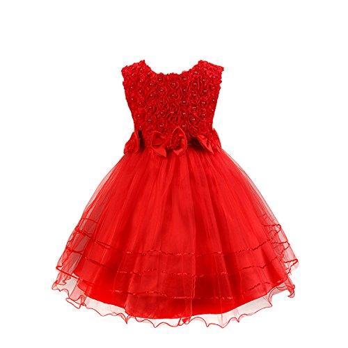 Discoball Mädchen Rose Blumen Kleid Rot 6-7 Jahre (Die Rote Rose Mädchen)