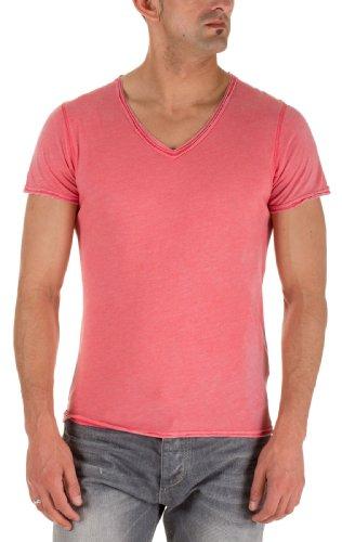 M.O.D Jeans Herren V-Ausschnitt Shirts T-Shirt Men Red