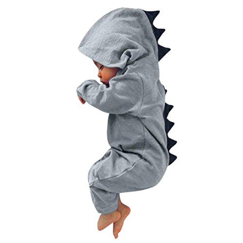 ASHOP Bebé Dinosaurio Hooded Mameluco Ropa Pijama Trajes de niños (Gris, 6 Meses)