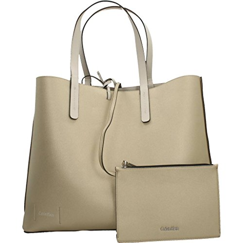 Calvin Klein - Ck Reversible Shopper, Borse Tote Donna Bianco (Cement / Light Gold)