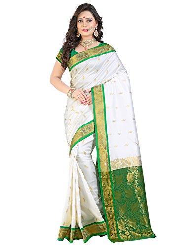 e-VASTRAM Womens Pure White Art Silk Saree(KASHIKAG_Green)